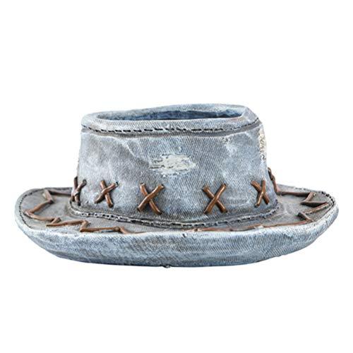 WINOMO Sombrero occidental con forma de maceta, diseño antiguo, vintage, decoración para el jardín, decoración para...