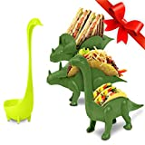 Dinosaur Taco Holder Set by East World – Tacosaur Tribe with BrontoSpoon Ladle - 3x Dino Stands for 6x Jurassic Tacos! Triceratops Taco Stand Holder, Taco Truck or Kids Plastic Novelty Taco Plates