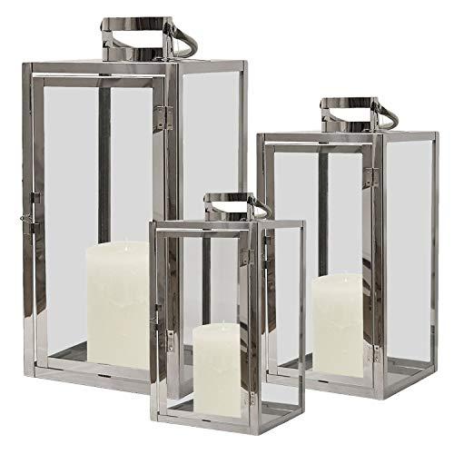 Mojawo Edles XL 3tlg. Laternen-Set H53/40/30cm Edelstahl mit Griff Echtglasfenster Laterne Windlicht Gartenlaterne Kerzenhalter Gartenbeleuchtung
