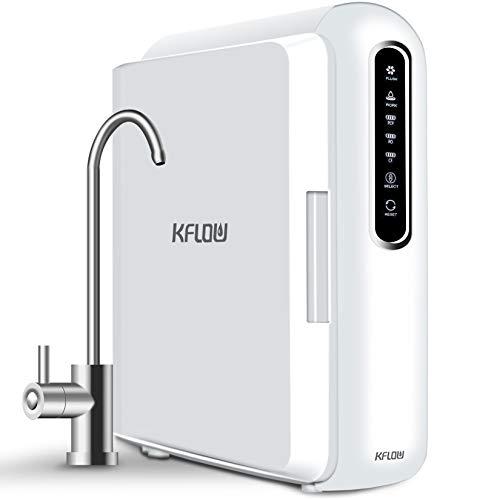 KFLOW Umkehrosmoseanlage, Tankloser 400GPD Osmoseanlage mit Schnellem Durchfluss, 2:1-Abflussverhältnis, Umkehrosmose Wasserfilter, Filterlebensdauer und Erinnerung an Wasserlecks (KFL-X6)