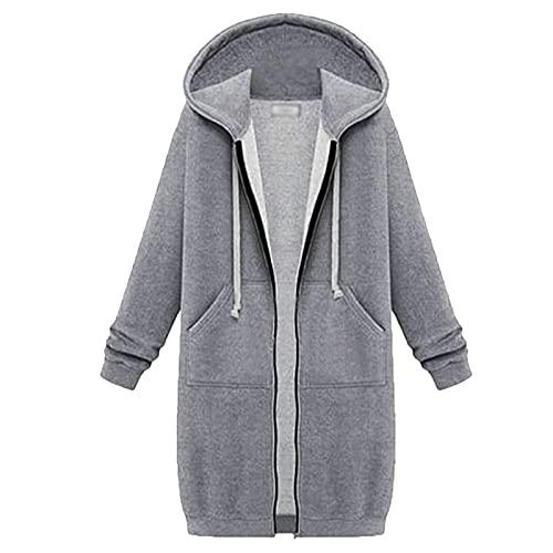 Suéter largo espesado de moda pequeño fresco manga larga cremallera sudadera con capucha suelta con bolsillos sudadera abrigo, gris, 5XL