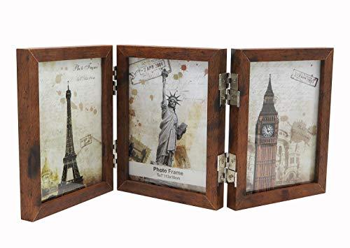 Smiling Art klappbarer Bilderrahmen aus MDF Holz mit Glas für 6 Fotos (Braun 360°, 6x13x18 cm)