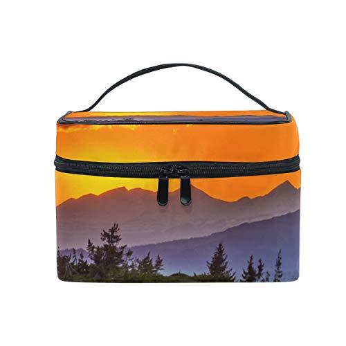 Sunset Mountain Landscape Nature - Neceser de Viaje, Organizador de Maquillaje para Mujeres y niñas, Bolsa de Aseo portátil, Bolsa de Almacenamiento de cosméticos de Lona