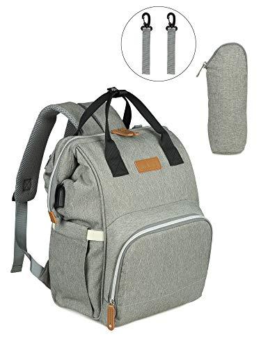 NEVEQ Baby Wickelrucksack, Babytasche für Reise, Wickeltasche Große Kapazität, Multifach Reise Rucksack Wasserdicht Fächer Babyflaschehälter (Grau und Schwarz)