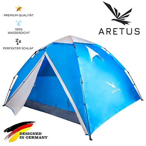 Aretus Eagle Tent Large Pop Up Tent 2 3 4 Person Tent with Awning Waterproof 2 Entrances Ventilated UV Protection for Camping Festival with 2 in 1 Function