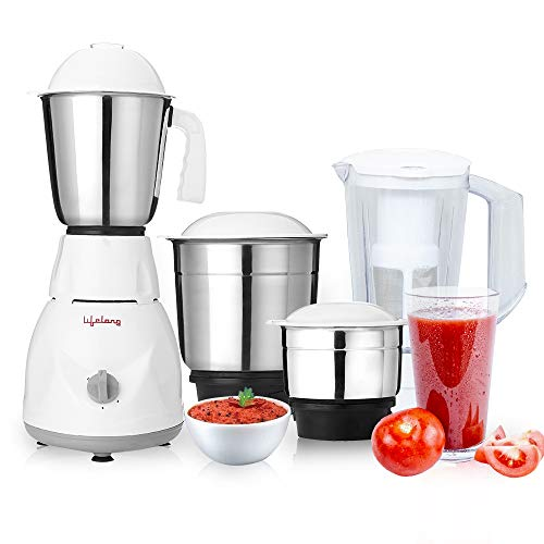 Lifelong 500 Watt Juicer Mixer Grinder with 3 Stainless Steel Jar and...