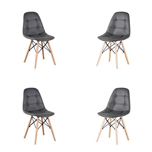 Set mit 4 Esszimmerstühlen, Knopfstühle mit Sitz und Rückenlehne, Stühlen mit Holzbeinen für Wohnzimmer, Küche (Grau)