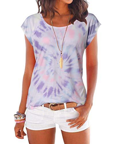 YOINS T-Shirt Damen Shirt Oberteile Sexy Oberteil für Damen Tops Sommer Einfarbig Ärmellos Rundhals mit Sterne Bunt-Lila XXL