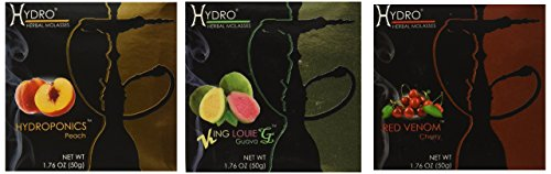 Hydro Herbal 100% Tobacco & Nicotine Free Premium Hookah Shisha Molasses Flavor, Lot of 3 (Assorted flavors)