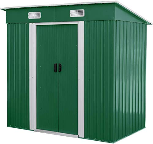BAHOM Horizontal Outdoor Storage Shed 4X6 FT Without Floor Base, Lockable Organizer for Garden, Patio, Backyard Tools and Accessories, green (Green)