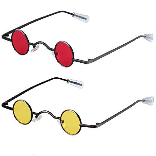 Haichen 2 Paar Retro Gothic Steampunk Sonnenbrille Vintage kleine runde Sonnenbrille Retro schlanke Metallrahmen Candy Colors (Gelb + Rot)