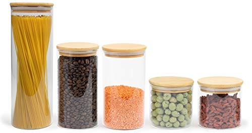 Elwin Neiles® Vorratsglas mit Deckel [1x 1700ml / 2X 1100ml, 2X 550ml] - 100% luftdichte & stapelbare Glasbehälter - mottensichere Vorratsdosen