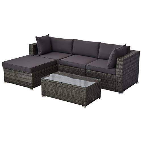 Outsunny 5 Piece Outdoor Patio PE Rattan Wicker Sofa Sectional Furniture Set, Grey/Charcoal