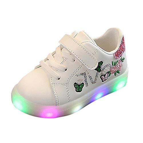 Doublehero Babyschuhe 1-6 Jahre Unisex Baby Junge Mädchen Prinz Prinzessin Mode Star Glühend Sneaker LED Leuchtet Kind Kleinkind Beiläufig Bunt Licht Schuhe (22.5 EU, Rosa2)