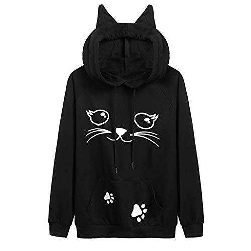 Xmiral Hoodie Pullover Damen Cat Drucken Kapuzenpullover Sweatshirt Casual Langarm Top (S, z6 Schwarz)