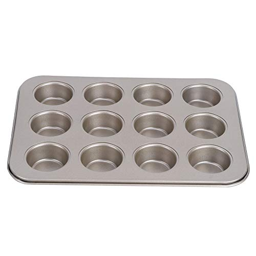 Demeras Bandeja para hornear, molde antiadherente 12 tazas redondo fácil de hornear para utensilios de cocina (oro pequeño TG003 #C)