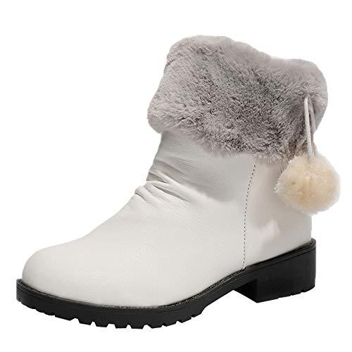 Fenverk Frau KüNstliches Fell Stiefeletten Winter Warm Schnee Damen High Heel Schuhe GemüTlich Draussen Elegant Kurz Bootie Quadrat Haarballen Booties SchlüPfen Runder Zeh(Weiß,37.5 EU)
