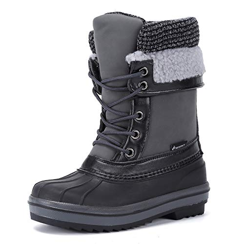 CIOR Kids Snow Boots Girls Boys Outdoor Boots Waterproof for Toddler Warm Boots with Fur Lined (Toddler/Little Kids) U120WXZ002-Black Grey-32