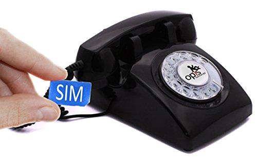Opis 60s Mobile - Retro Tischhandy in Form eines sechziger Jahre Telefons mit Wählscheibe und Metallklingel (schwarz)