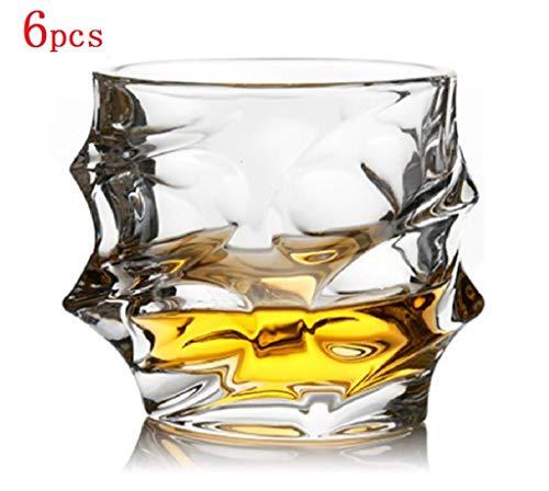 YYCDD Wijnglazen set voor bruiloft - 6-delige set, Loodvrije kristallen glazen kop, Whiskey cup Huishoudelijke wijnglas Biermok (350ml)