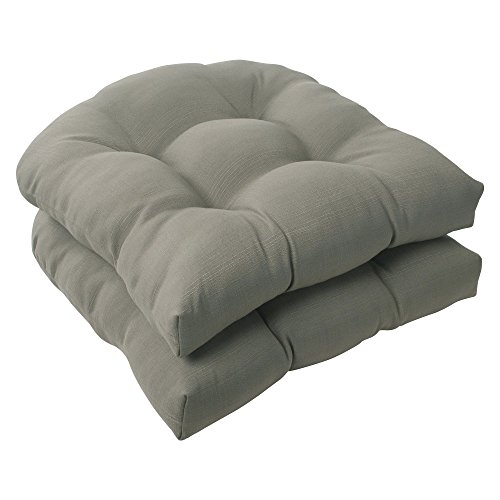 Pillow Perfect Outdoor/Indoor Forsyth Shattake Tufted Seat Cushions (Round Back), 19' x 19', Taupe, 2 Count