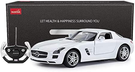 RASTAR Mercedes Benz Remote Control Car, 1/14 Scale RC Mercedes Benz SLS AMG RC Model Car, Open Doors by Manual – White