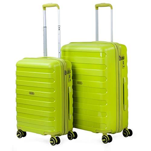 JASLEN - 2er Kofferset erweiterbar 55/67 cm Polypropylen PP. 4 Doppelräder Steif, widerstandsfähig und leicht. TSA Hängeschloss. Kleine Koffer genehmigt für...