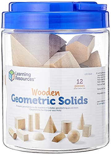 Learning Resources Geometric Solids, Wooden Shapes, Set of 12 Geometric Shapes, Ages 6+, Multi-color