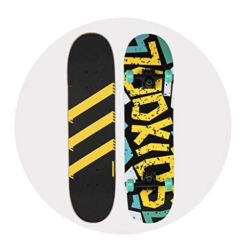 Skateboarding Monopatín Arce del Patín De Cuatro Ruedas Viejos Niños Y Adolescentes Niños Y Niñas Principiantes Doble Balancín 6-12 Años Vespa (Color : B, Size : 79 * 20 * 12.6cm)