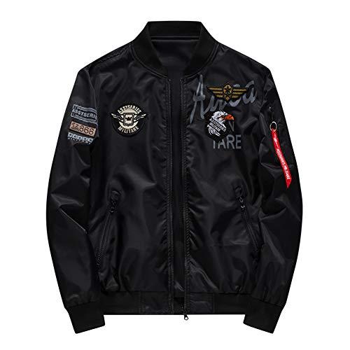 DZOUP Jacken Herren Bomberjacke Übergangsjacke Stickerei Lange Ärmel Freizeit Mode Jacke,Black,6XL