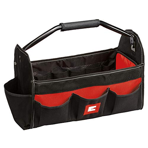 Einhell 18-Inch Open Universal Tote / Tool Bag with Carry Handle, Compartments and pockets in different sizes, Great for Grinder/Drill/Driver/Batteries/Small Accessories and more