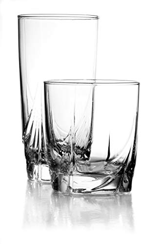Luminarc 16 Piece Ascot Tumbler Set, 8-16.5 Ounce Coolers & 8-13 Ounce Double Old Fashioned Glasses, Mixed, Clear