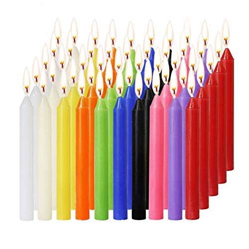 EWQK Candle New 100PCS Unscented Taper Colorful Birthday Candles Smokeless For Wedding Christmas Decoration Colorful Flame Multicolor Candle Gifts for Women