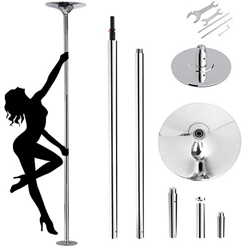 amzdeal Stripper Pole Upgraded Fitness Pole Spinning Dancing Pole Portable Removable 45mm Pole Kit