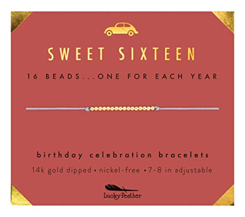 "Lucky Feather Sweet 16 Gold Tone Birthday Bracelet Gift 16 Year Old Girls 14K Dipped Beads on Adjustable 7""-8"" Cord"