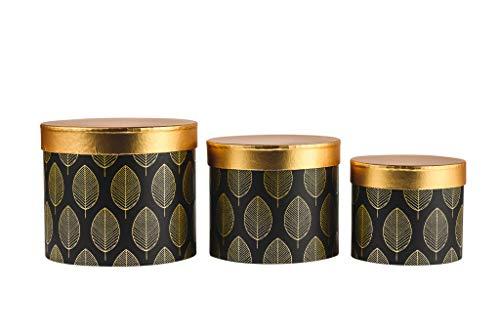 3er Set Blumeboxen mit Deckel, Dekoboxen in Gold Schwarz oder Gold Weiß mit Blättern, Feder oder Fischschuppen-Design, elegante Aufbewahrungsboxen und Geschenkschachteln (Mit Blättern Schwarz)