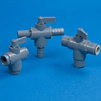 """Three-way 326 PVC Ball Valve 1/4"""" OD Tube John Guest with EPDM Seals - 2.63""""L x from SMC"""