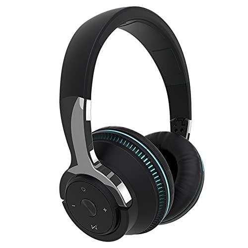XJPB Auriculares inalámbricos con micrófono sobre el oído Auriculares Ejercicio Estéreo Bajo Profundo 24 Horas Escuchar Soft Earmuffs Bluetooth PC TV Auriculares para Oficina/Gimnasio,Negro