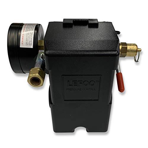 26 AMP H/D PRESSURE SWITCH AIR COMPRESSOR 90-125 4 PORT w/ 0-200 psi Back Mount Gauge & 165 psi Pop off valve
