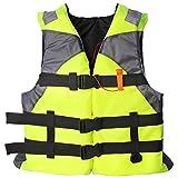Adultos Chaleco Salvavidas Chaleco de Ayuda Kayak Esquí Flotabilidad Pesca Deportes Acuáticos al Aire Libre Chaquetas Salvavidas Ajustable (Verde)