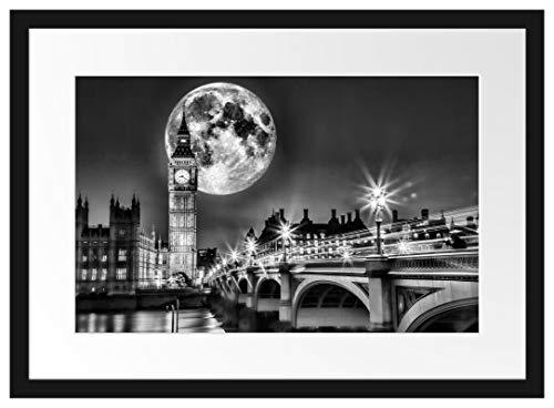 Picati Big Ben vor Mond in London Bilderrahmen mit Galerie-Passepartout/Format: 55x40cm / garahmt/hochwertige Leinwandbild Alternative