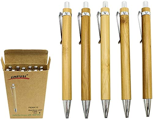 Bamboo Retractable Ballpoint Pen(12 pack),Black ink 1mm Sustainable...
