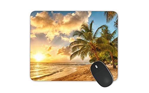 JNKPOAI Hawaii Beach Mouse Pad Souvenir Mouse Pad Anti-Slip Mouse Pad for Office (Beach#4, Square)