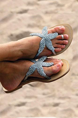 GlobalHandmade Women's Beaded Summer Beach Weddings Bridal Leather Sandals