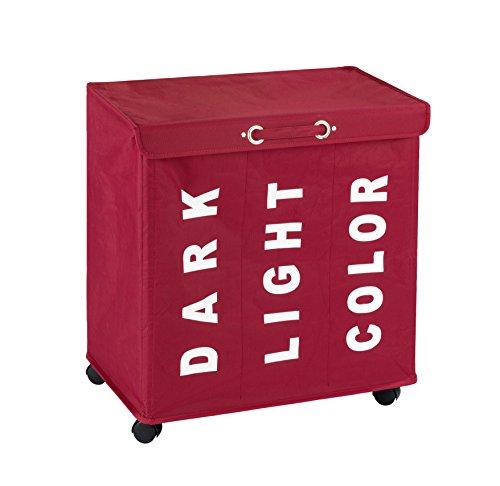 Wenko tvättesamlare Trivo röd, stabil tvättkorg med fyra enkla rullar och lock, 116 l förvaringsutrymme och tre fack, (B x H x D): 56 x 60 x 35 cm, textenDark,Light,Color