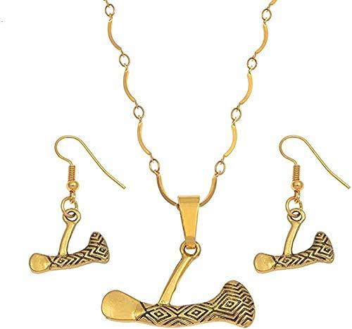 Yaoliangliang Conjuntos de Joyas de Hacha Collares Pendientes Pendientes para Mujeres Niñas Joyería de Papúa Guinea Conjunto de Hacha Longitud 45Cm