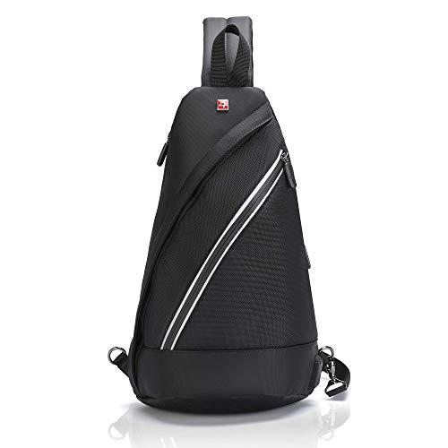 Sling Bag iPad Crossbody Backpack -Swiss Design Anti Theft RFID - USB Waterproof Lightweight Men Women - Business Travel Daypack (10.2, Black)