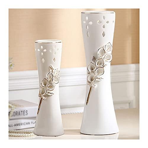 Flor de cerámica a mano de gran calibre azul, jarrón de cerámica de sala de estar, jarrón decorativo de gabinete de vino, jarrón decorativo de porche de vino (conjunto de 2 piezas) ( Color : White )