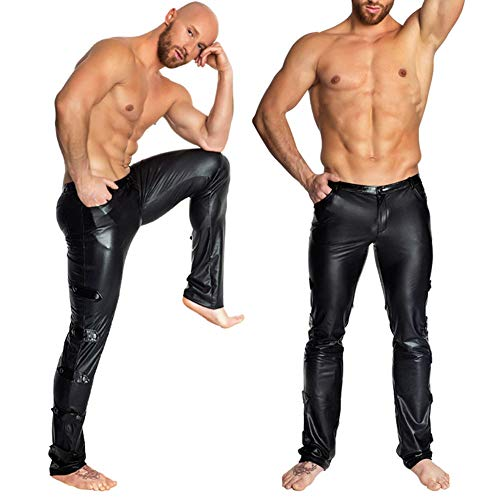 RASHLD Men's Black Leather Motorcycle Overpants with Side Zipper and Snaps,XXL