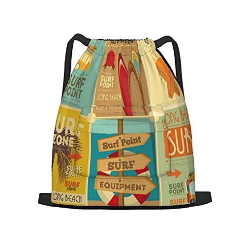 BohoMonos Mochila deportiva con cordón,Colección de carteles retro de surfEn estilo, Gym Sackpack para Hombres Mujeres Niños Yoga Travel Camping String Bag.